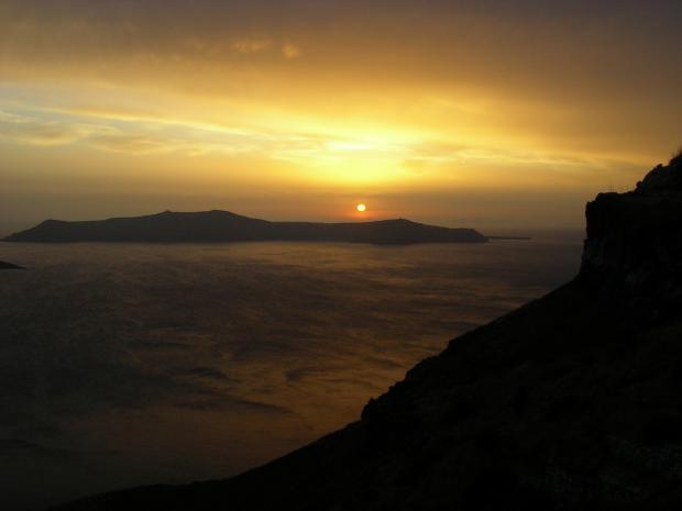 Zonsondergang op Caldera (Vulkaaneiland)